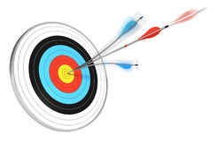 Expertise, expert background. One blue arrow split with a red arrow hitting the center of a target, 3d render over white background Stock Images