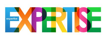 EXPERTISE colorful overlapping letters vector banner. EXPERTISE overlapping semi-transparent letters word concept banner. Rainbow palette. Vector stock illustration