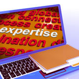 Expertise Word Cloud Laptop Shows Skills Proficiency And Capabil Royalty Free Stock Photos