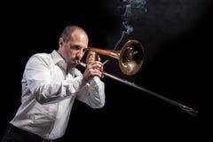 Experto del trombón Fotografía de archivo libre de regalías