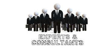 Experts and Consultats. 3D render image representing a group of business people in black suits Royalty Free Stock Images