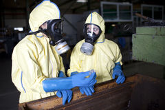 Experts disposing infested material Stock Photo