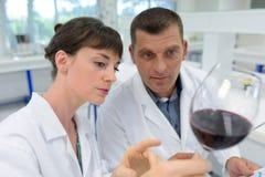 Experts en matière d'homme et de femme en matière de manteaux blancs vérifiant la qualité du vin image stock