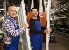 Experts sent new door frames royalty free stock image