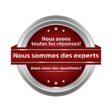 We are experts written in French - stamp for web. RGB colors used vector illustration