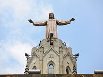 Expiatory Church of the Sacred Heart of Jesus. BARCELONA, SPAIN - AUGUST 14, 2013: Statue Jesus on Expiatory Church of the Sacred Heart of Jesus, Barcelona Stock Photos