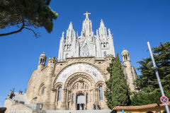 Expiatory Church of the Sacred Heart of Jesus. The Temple Expiatori del Sagrat Cor is a Roman Catholic church and minor basilica located on the summit of Mount Royalty Free Stock Photos