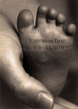 Expiration Date. On infants foot Stock Photos