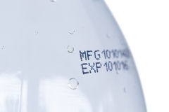 Expiration date on plastic bottle Stock Photo