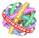 Expiration Service Ended Terminated Cycle Renew Now Reminder. Expiration word in endless cycle for terminated service and reminder to renew subscription now royalty free illustration