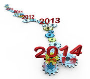 Expiration year. Version of how time is running out and approaching the New Year 2014 Stock Photo