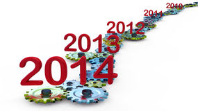Expiration year. Version of how time is running out and approaching the New Year 2014 Stock Photography