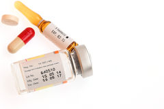 Expire Date label on medicine vial ampule Stock Images