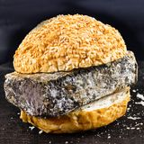 Expired Fast food. Bun for Burger and spoiled cheese. Harmful da. Expired Fast food. Bun for Burger rand spoiled cheese. Harmful dangerous unwholesome food Royalty Free Stock Photography