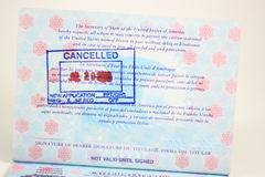Expired Passport. Expired or Canceled US Passport  for New Application Royalty Free Stock Image