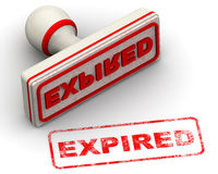 Expired. Seal and imprint. Red seal and imprint `EXPIRED` on white surface. Isolated. 3D Illustration Royalty Free Stock Photography