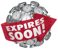 Expires Soon Clock Sphere Limited Time Offer Deadline. Expires Soon words on a red arrow around a clock sphere or ball to illustrate a limited time offer, sale Stock Images