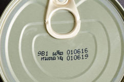 Expiry date printed on product can Stock Images