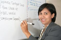 Explain on white board. Young business woman explain on white board stock images