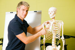 Explaining basic anatomy in gym Royalty Free Stock Photo