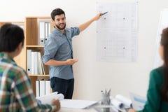 Explaining blueprint Royalty Free Stock Photo