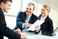 Explaining business instructions Stock Images