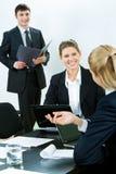 Explaining business point Royalty Free Stock Photo