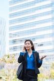 Explaining something on the phone. Japanese business woman explaining something on the phone stock image