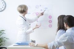 Explaining in vitro method. Experienced gynecologist explaining to infertile couple in vitro method Royalty Free Stock Image
