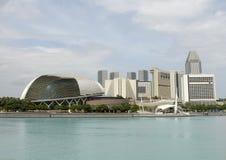 Explanada de Singapur en la bahía del puerto deportivo Imagen de archivo