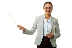 Explanation. Portrait of successful teacher looking at camera in isolation stock photography