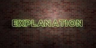 EXPLANATION - fluorescent Neon tube Sign on brickwork - Front view - 3D rendered royalty free stock picture Royalty Free Stock Photos