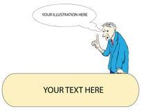 Explanation of ideas. Gray-haired man explains his idea. Vector illustration Royalty Free Stock Photography