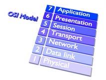 Explanation of the OSI model in blue on white flat design. 3D illustration Stock Photo