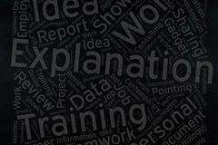 Explanation ,Word cloud art on blackboard.  stock photo