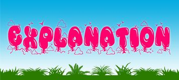 EXPLANATION written with pink balloons on blue sky and green grass background. Illustration Royalty Free Stock Photography