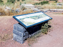 The explanatory stand on which the map is  drawn is on a hill in the Golan Heights in Israel Royalty Free Stock Photo