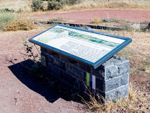 The explanatory stand on which the map  is drawn is on a hill in the Golan Heights in Israel Stock Photography