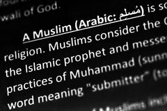 Explicación o descripción musulmán en diccionario o artículo Información de la religión imágenes de archivo libres de regalías