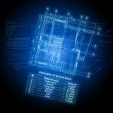 Explication of ground floors. On abstract blue background Royalty Free Stock Photography