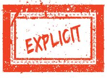 EXPLICIT on orange square frame rubber stamp with grunge texture Royalty Free Stock Photos