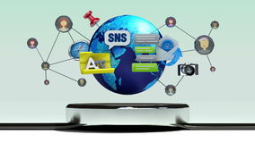 Explique la diversa función de servicio social de Internet de la red para el reloj elegante stock de ilustración