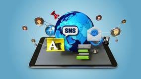 Explique la diversa función de servicio social de Internet de la red para el teléfono elegante cojín elegante, móvil libre illustration