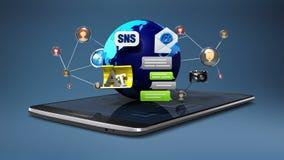 Explique la diversa función de servicio social de Internet de la red para el teléfono elegante cojín elegante, móvil 2 (alfa incl stock de ilustración