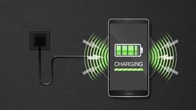 Explique la función inalámbrica de la carga, usando el teléfono del smarta y el teléfono móvil stock de ilustración