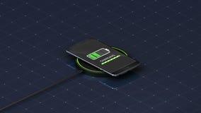 Explique la función inalámbrica de la carga, usando el teléfono elegante y el teléfono móvil 1 ilustración del vector