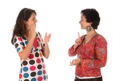 Expliquer de main de personnes sourdes Image libre de droits