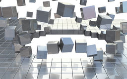 Exploading building blocks Stock Photo
