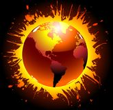 Explode. Abstract design of world globe exploding royalty free illustration