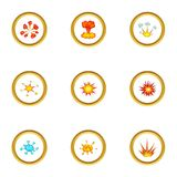 Explode animation effect icons set, cartoon style. Explode animation effect icons set. Cartoon style set of 9 explode animation effect vector icons for web Royalty Free Stock Photo